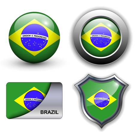 Brazil flag icons theme. Stock Vector - 12905234