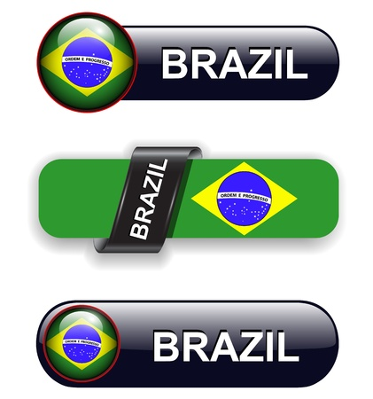 brasil: Brazil flag banners, icons theme.