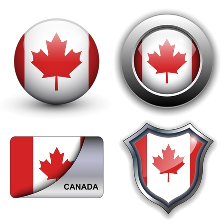 Canada flag icons theme. Vector