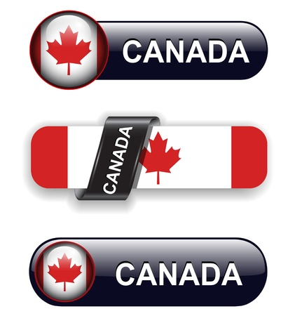 canadian icon: Canada flag banners, icons theme. Illustration