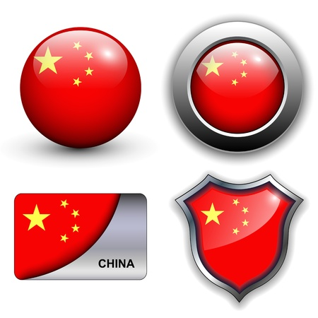 china flag: Peoples Republic of China flag icons theme.