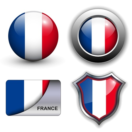flag france: Drapeau de la France ic�nes th�me. Illustration