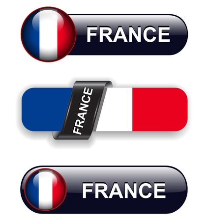 France flag banners, icons theme. Vector
