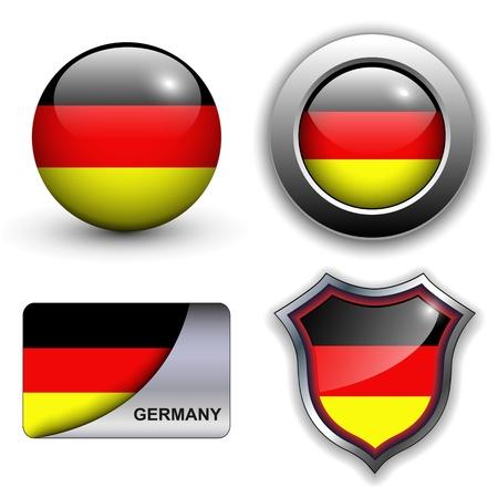 bandera alemania: Los iconos de bandera alemana tema. Vectores