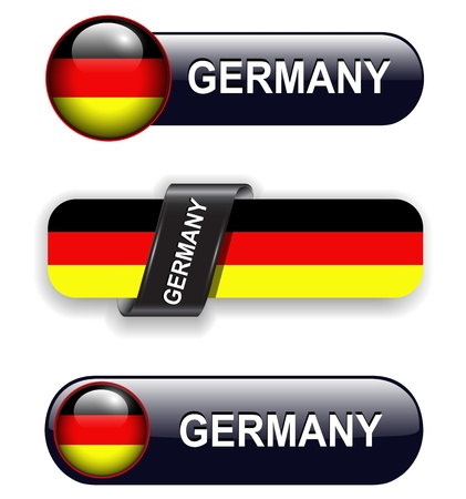 german flag: German flag banners, icons theme. Illustration