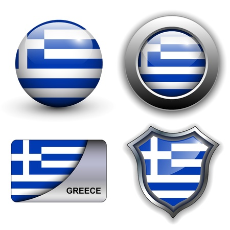 Greece flag icons theme. Vector