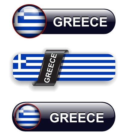 Greece flag banners, icons theme. Vector