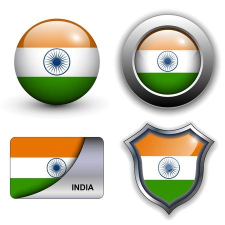 drapeau inde: Drapeau Inde ic�nes th�me.
