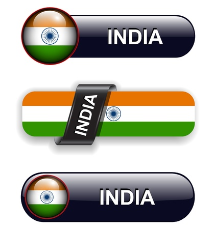 India flag banners, icons theme. Vector