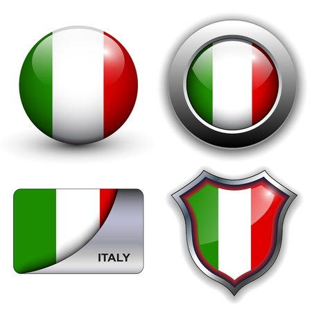 Italy flag icons theme. Stock Vector - 12905217