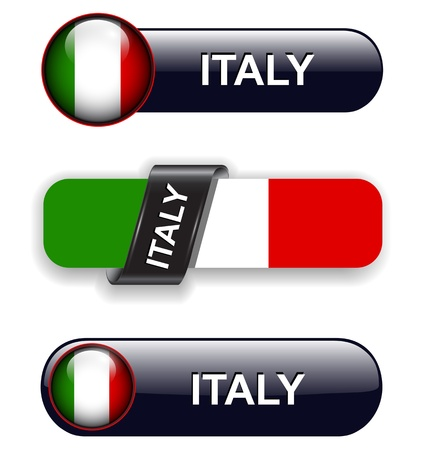 Italy flag banners, icons theme. Vector