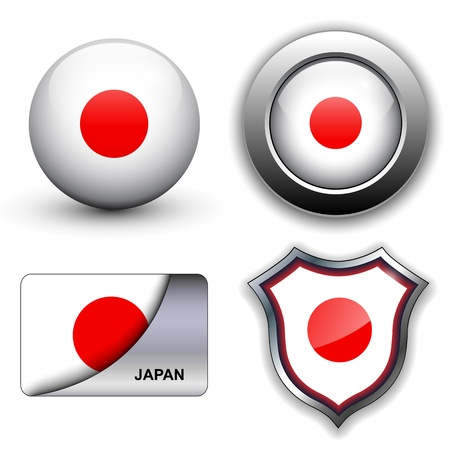 Japan flag icons theme. Vector