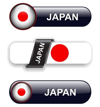 Japan flag banners, icons theme. Vector