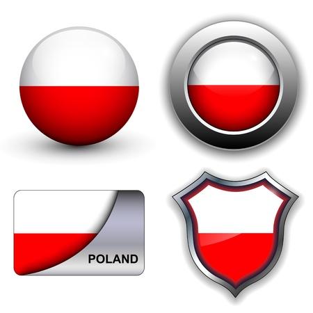 Drapeau de la Pologne icônes thème.