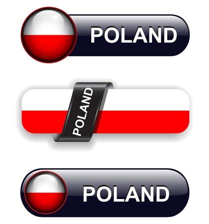 Poland flag banners, icons theme. Vector