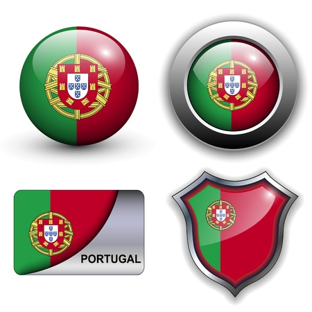 Portugal flag icons theme. Vector