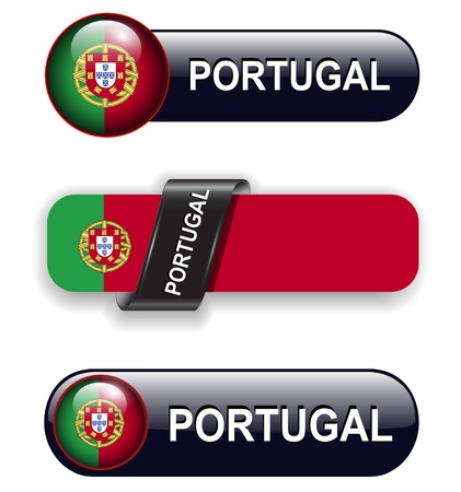 Portugal flag banners, icons theme. Vector