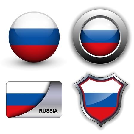 circulaire: Drapeau de la Russie ic�nes th�me.