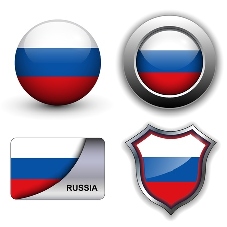 Russia flag icons theme. Vector