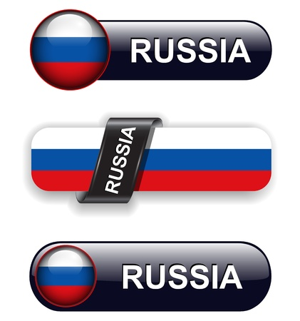 russian flag: Russia flag banners, icons theme.