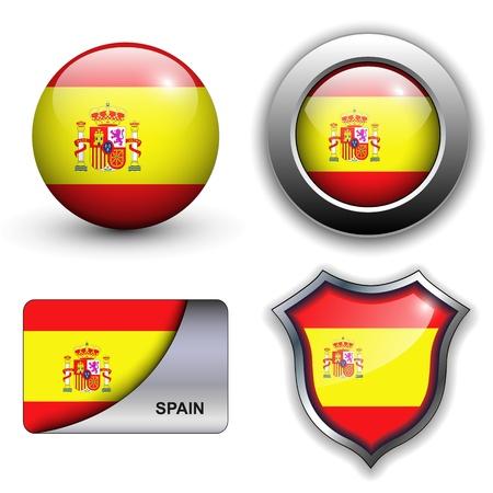 flagge: Spanien Flagge Icon-Set. Illustration