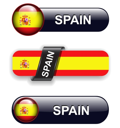 Spain flag banners, icons theme. Vector