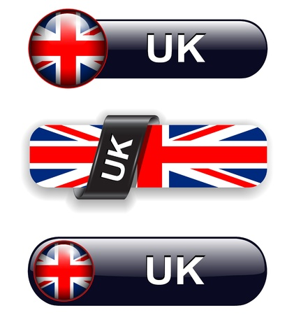 United Kingdom; UK flag banners, icons theme. Vector