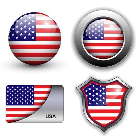 ville usa: Etats-Unis, drapeau am�ricain ic�nes th�me. Illustration