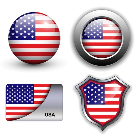 USA, american flag icons theme. Stock Vector - 12905238