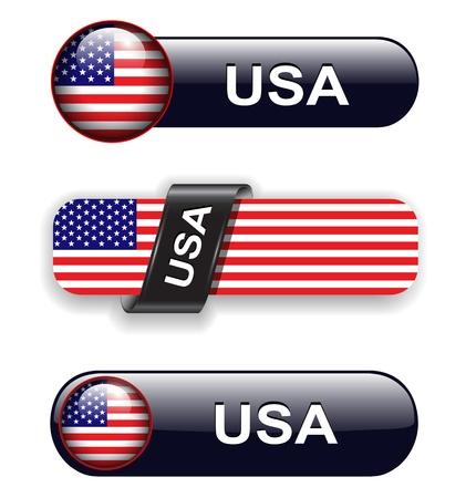 USA, american flag banners, icons theme. Vector