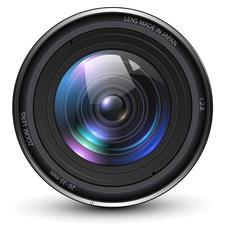 při pohledu na fotoaparát: Fotografie Objektiv fotoaparátu ilustrační.