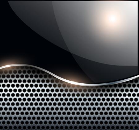 Resumen elegante fondo negro metálico, ilustración vectorial.
