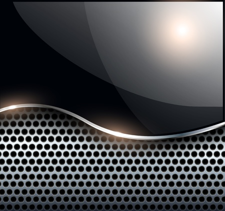 cromo: Resumen elegante fondo negro met�lico, ilustraci�n vectorial.
