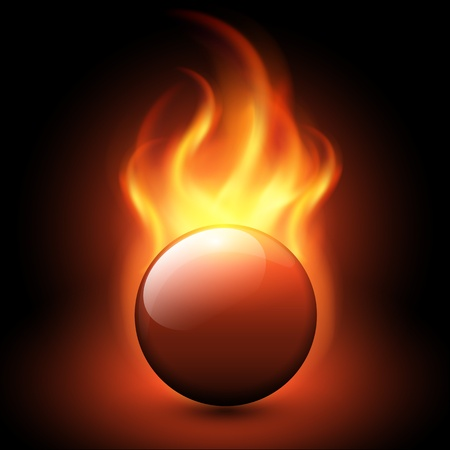 Abstract background with vector flames and fiery sphere.