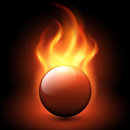 Resumen de fondo con llamas de vectores y la esfera de fuego.