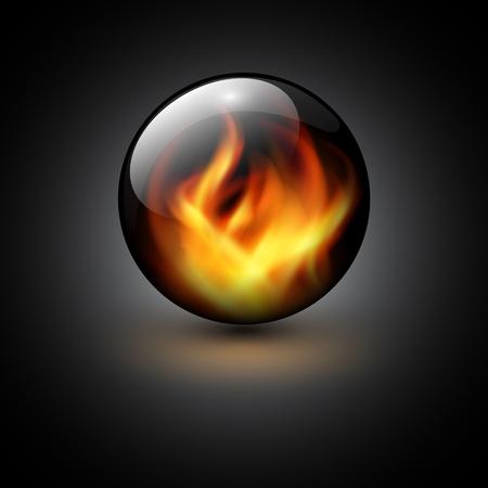 Esfera 3D con llamas de fuego en el interior como telón de fondo vector.