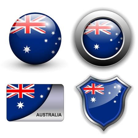 Australia flag icons theme. Vector