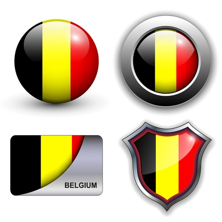 Belgium flag icons theme. Vector