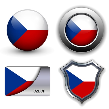 Czech Republic flag icons theme. Vector
