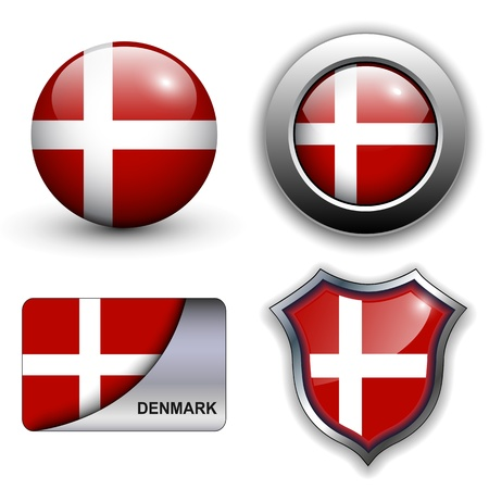danish flag: Denmark flag icons theme. Illustration