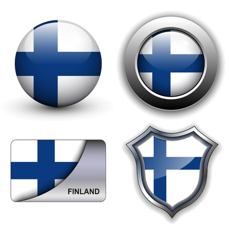 Finland flag icons theme. Vector