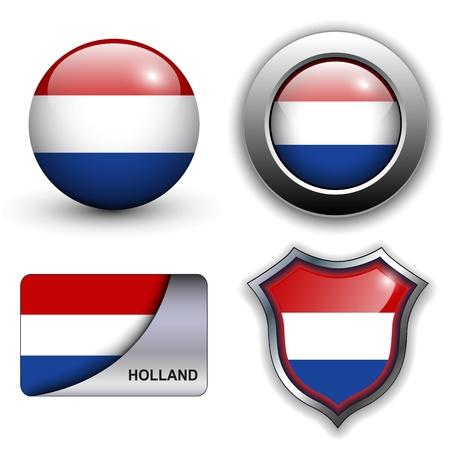 olanda: Holland bandiera icone tema.