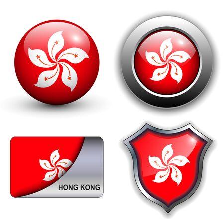 Hong kong flag icons theme. Stock Vector - 13272271