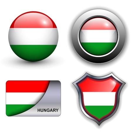 Hungary flag icons theme. Vector