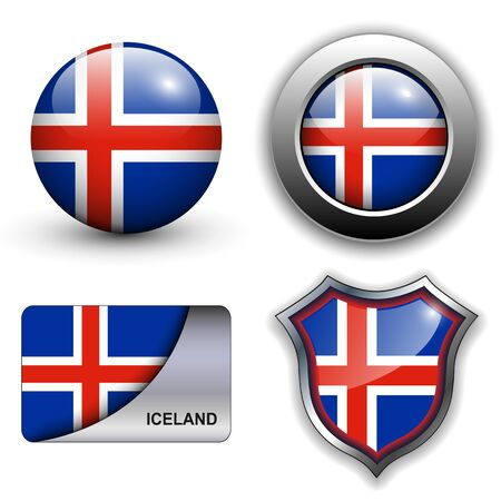 Iceland flag icons theme. Vector