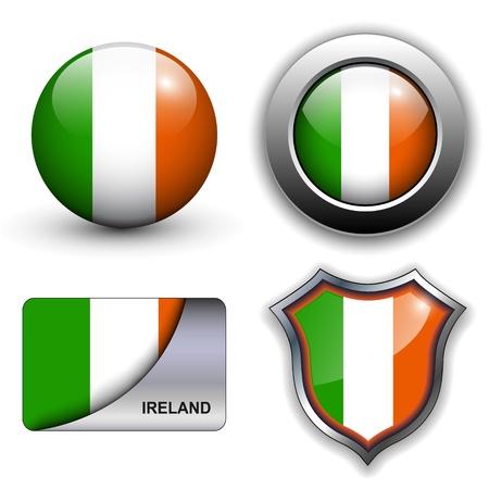 irland: Irland Flagge Icon-Set. Illustration