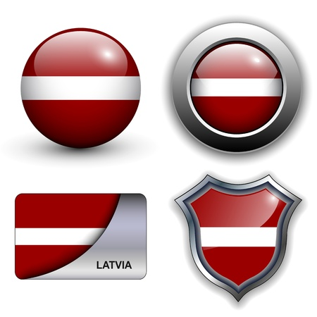 Latvia flag icons theme. Vector