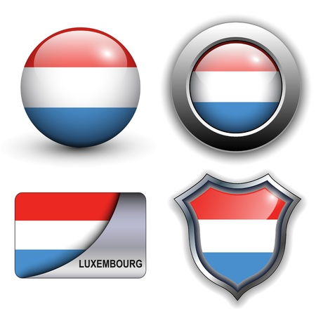 Luxembourg flag icons theme. Vector