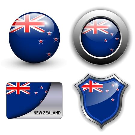 new zealand flag: Nuova Zelanda Bandiera icone tema.