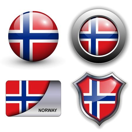 Drapeau Norvège icônes thème.